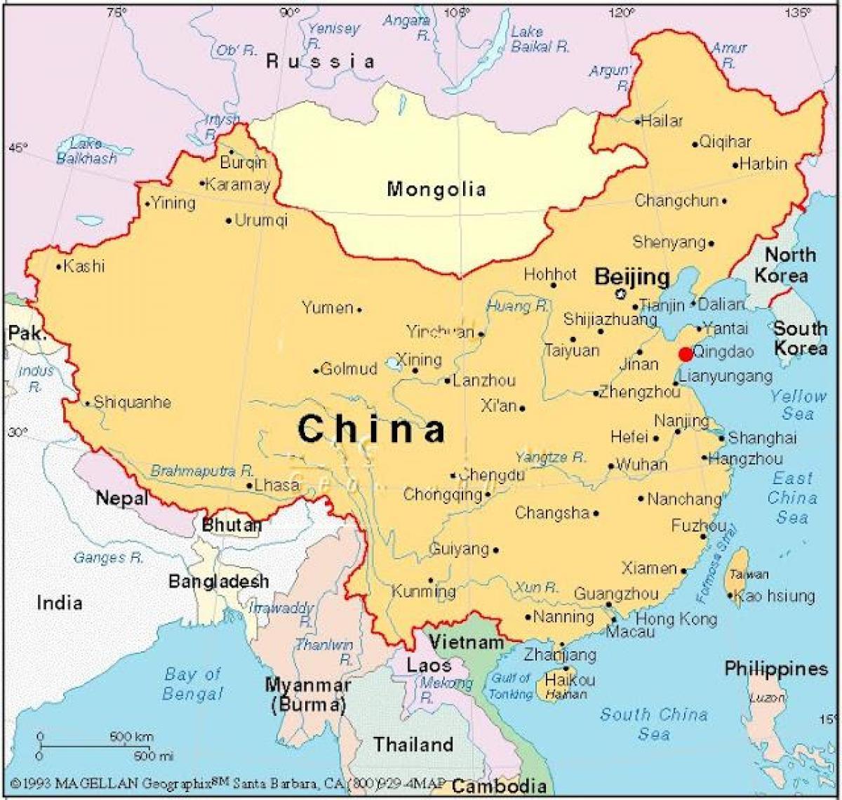 Kiinan Paakaupunki Map Kartta Capital Kiina Kiina